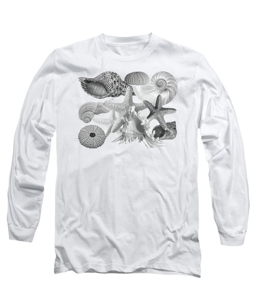 Treasures Of The Deep In Mono On White Long Sleeve T-Shirt