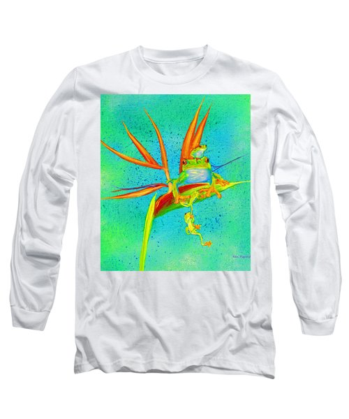 Tree Frog On Birds Of Paradise Square Long Sleeve T-Shirt