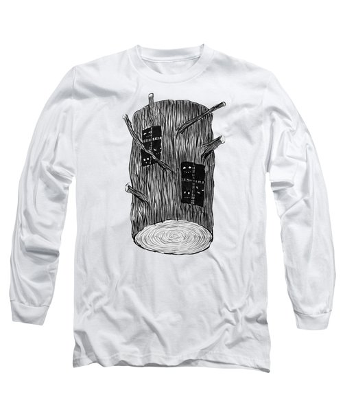 Tree Log With Mysterious Forest Creatures Long Sleeve T-Shirt