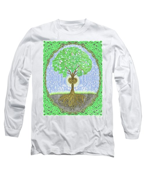 Tree With Heart And Sun Long Sleeve T-Shirt by Lise Winne