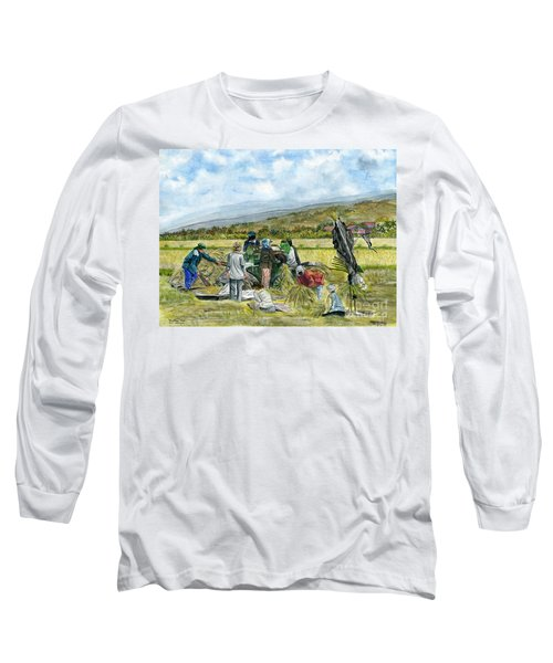 Long Sleeve T-Shirt featuring the painting Treshing Rice by Melly Terpening