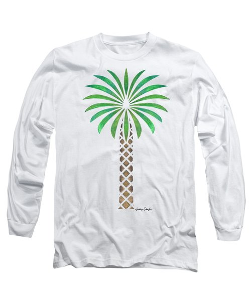 Tribal Canary Date Palm Long Sleeve T-Shirt by Heather Schaefer