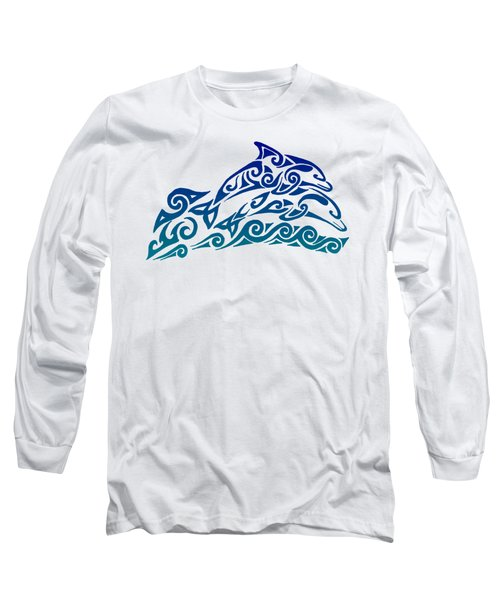 Tribal Dolphins Long Sleeve T-Shirt by Rebecca Wang
