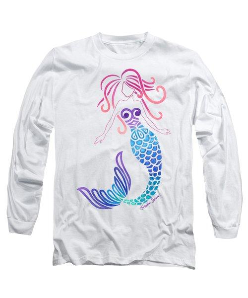 Tribal Mermaid Long Sleeve T-Shirt by Heather Schaefer