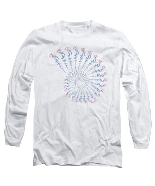 Tribal Mermaid Spiral Shell Long Sleeve T-Shirt by Heather Schaefer