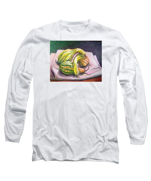 Long Sleeve T-Shirt featuring the painting Gourd Grouping by Laura Aceto