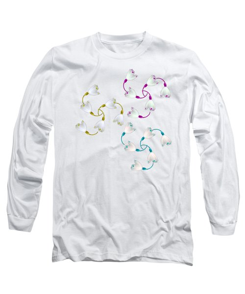 Long Sleeve T-Shirt featuring the mixed media Triple Triple Spirals  by Rachel Hannah