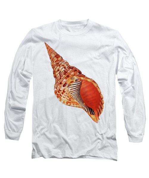 Triton Shell On White Vertical Long Sleeve T-Shirt