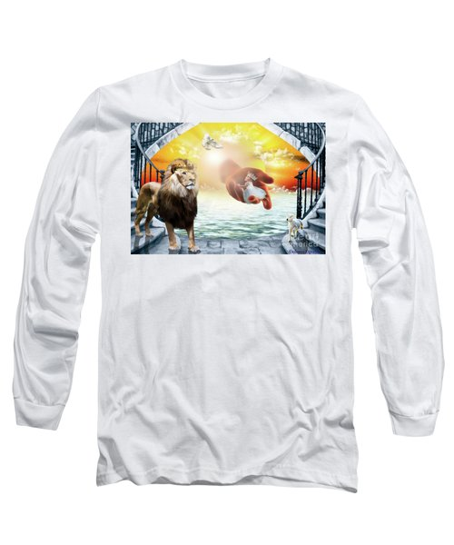 Long Sleeve T-Shirt featuring the digital art Triune Protection by Dolores Develde
