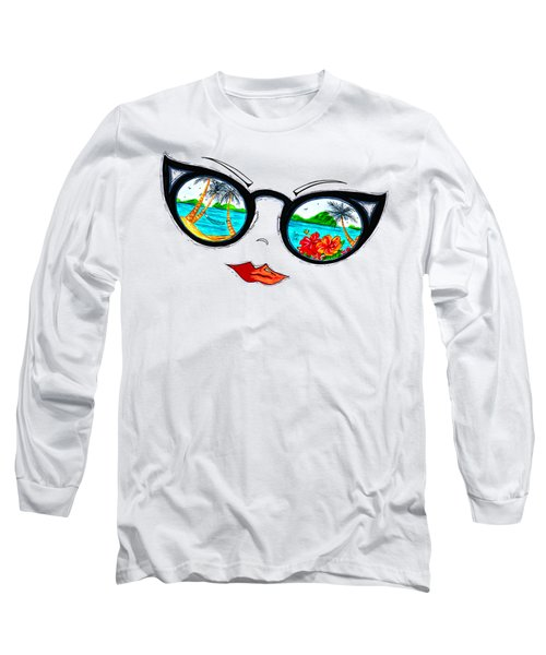 Tropical Cat Eyes Sunglass Reflection Aroon Melane 2015 Collection By Madart Long Sleeve T-Shirt