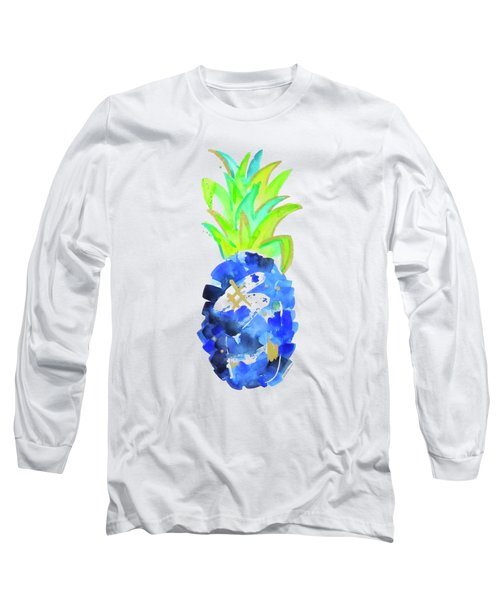 Tropical Cobalt Blue Pineapple Long Sleeve T-Shirt