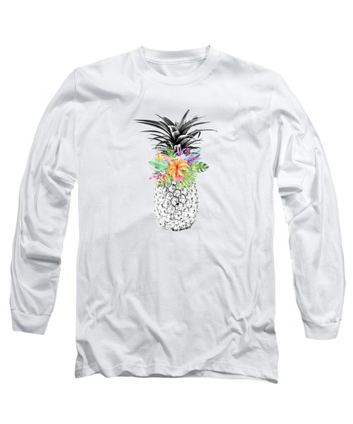 Tropical Flower Pineapple Coral Long Sleeve T-Shirt by Dushi Designs