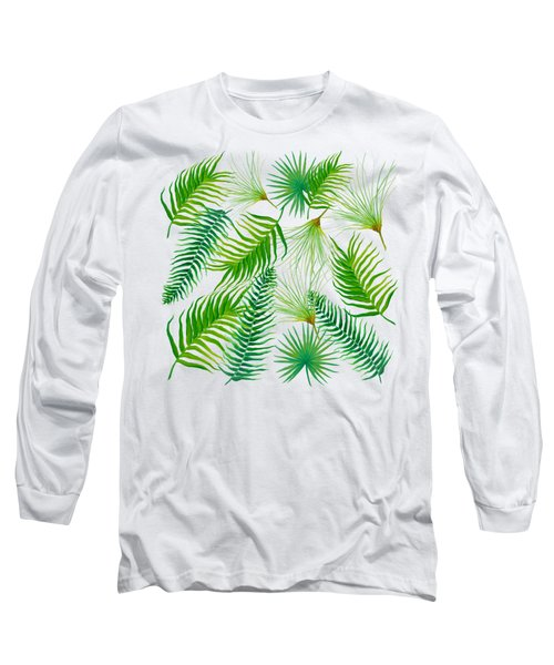 Tropical Leaves And Ferns Long Sleeve T-Shirt by Jan Matson