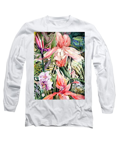 Tropical Orchids Long Sleeve T-Shirt by Mindy Newman