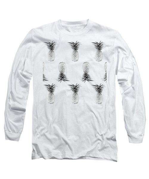 Tropical Pineapple Sketch Print Aqua Long Sleeve T-Shirt by Dushi Designs