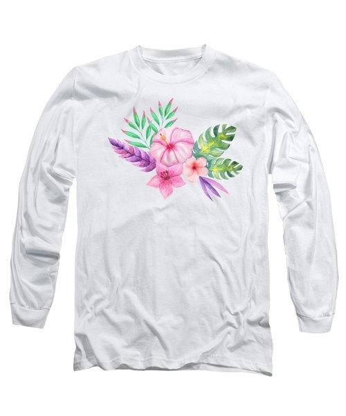 Tropical Watercolor Bouquet 1 Long Sleeve T-Shirt