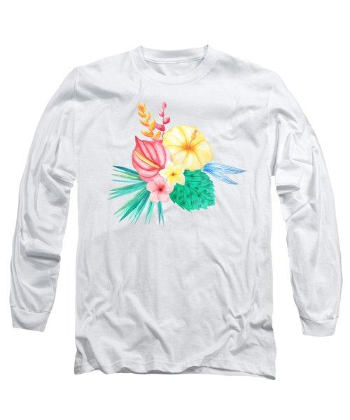 Tropical Watercolor Bouquet 2 Long Sleeve T-Shirt