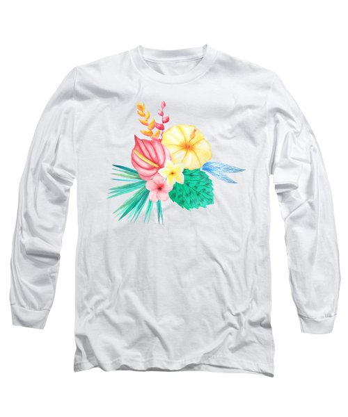 Tropical Watercolor Bouquet 2 Long Sleeve T-Shirt
