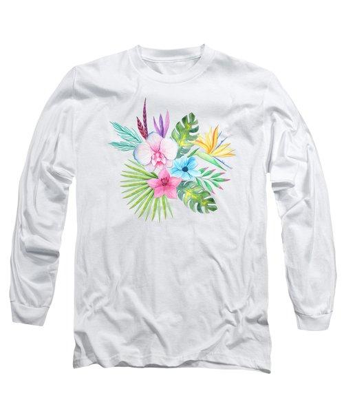 Tropical Watercolor Bouquet 3 Long Sleeve T-Shirt