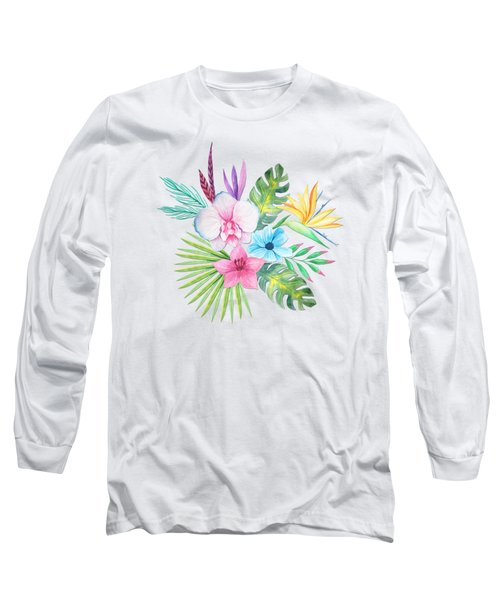 Tropical Watercolor Bouquet 3 Long Sleeve T-Shirt