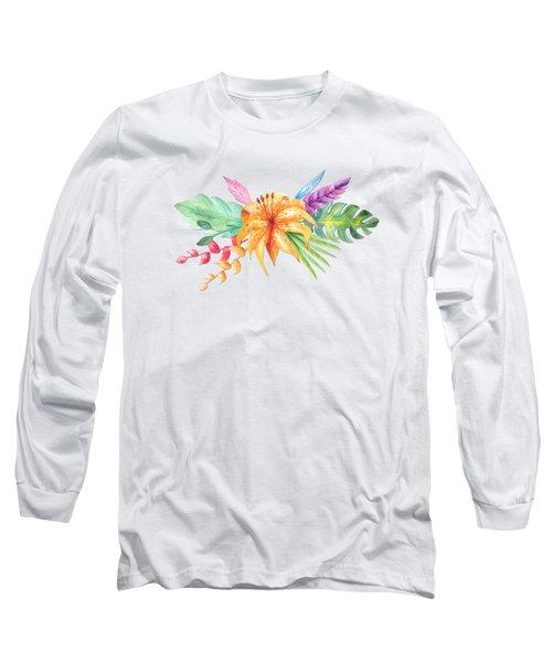 Tropical Watercolor Bouquet 4 Long Sleeve T-Shirt