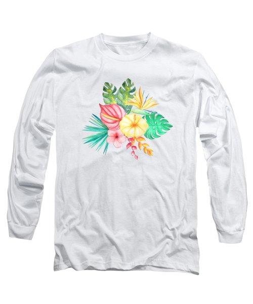 Tropical Watercolor Bouquet 6 Long Sleeve T-Shirt