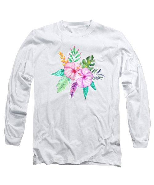 Tropical Watercolor Bouquet 78 Long Sleeve T-Shirt