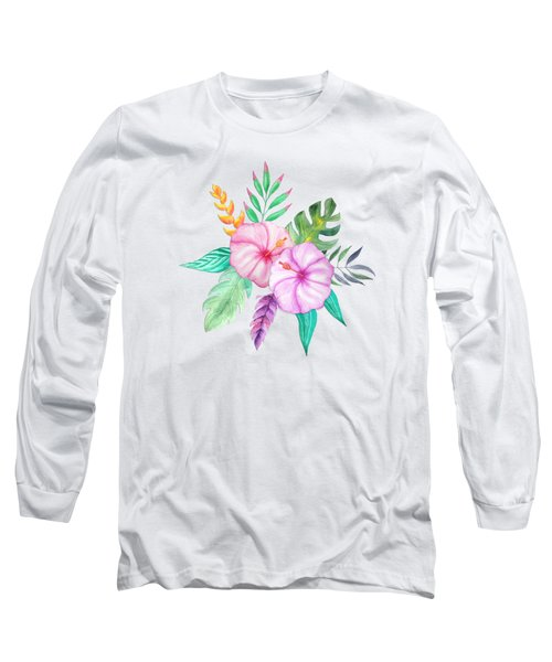 Tropical Watercolor Bouquet 78 Long Sleeve T-Shirt