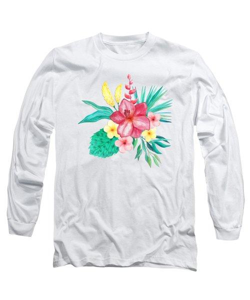 Tropical Watercolor Bouquet 9 Long Sleeve T-Shirt