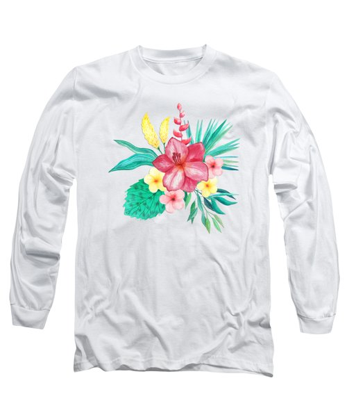 Tropical Watercolor Bouquet 9 Long Sleeve T-Shirt