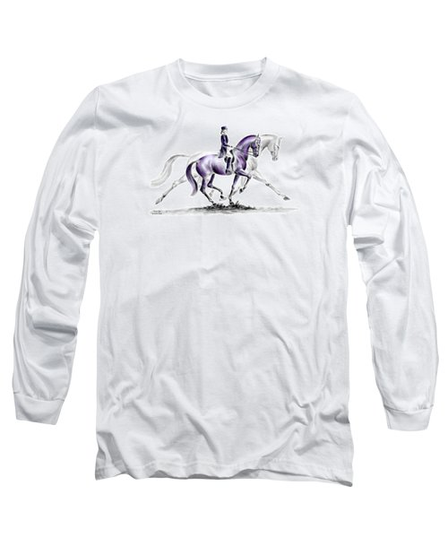 Trot On - Dressage Horse Print Color Tinted Long Sleeve T-Shirt by Kelli Swan
