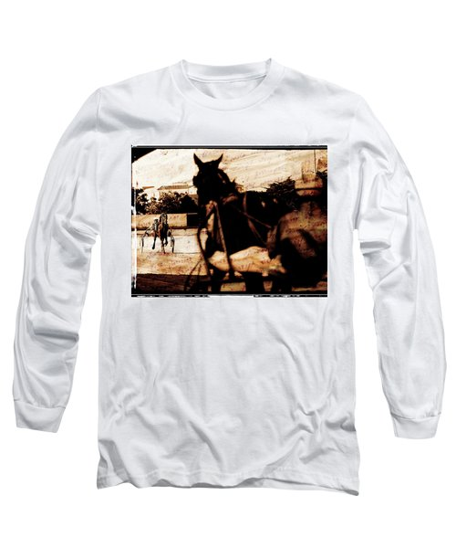 Long Sleeve T-Shirt featuring the photograph trotting 1 - Harness racing in a vintage post processing by Pedro Cardona