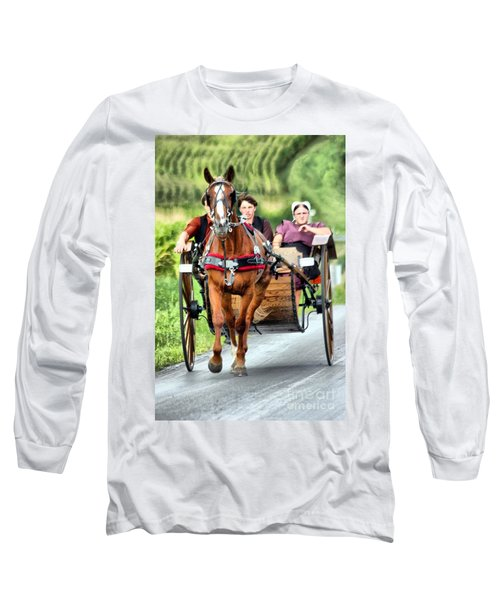 Trotting Along Long Sleeve T-Shirt by Polly Peacock