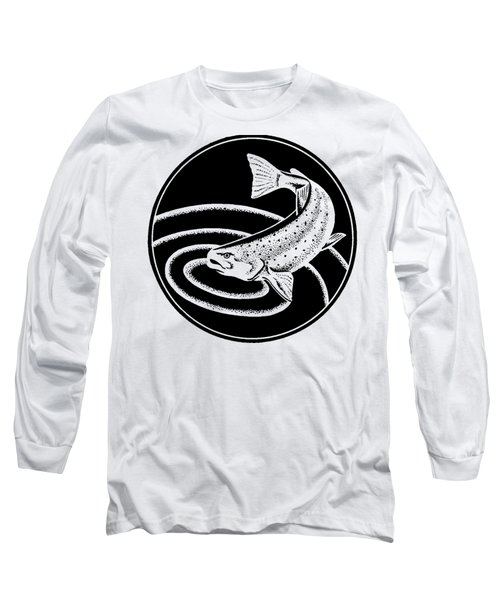 Long Sleeve T-Shirt featuring the drawing Trout - Tee Shirt Trout by rd Erickson