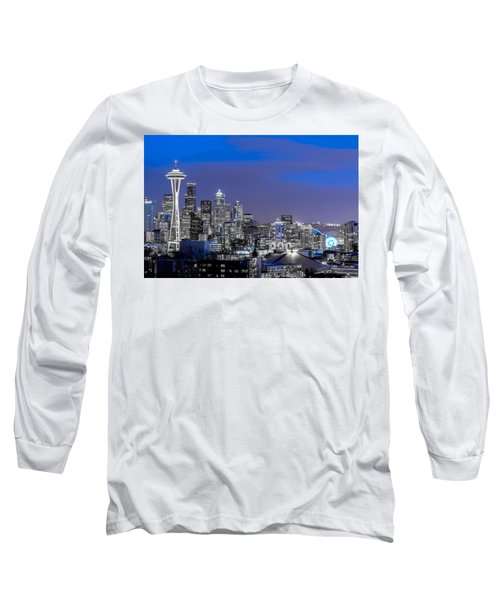 True To The Blue In Seattle Long Sleeve T-Shirt by Ken Stanback