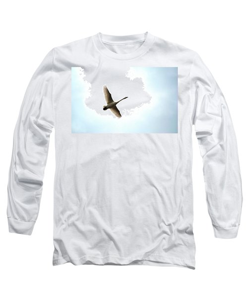 Trumpeter Swan In Flight Long Sleeve T-Shirt