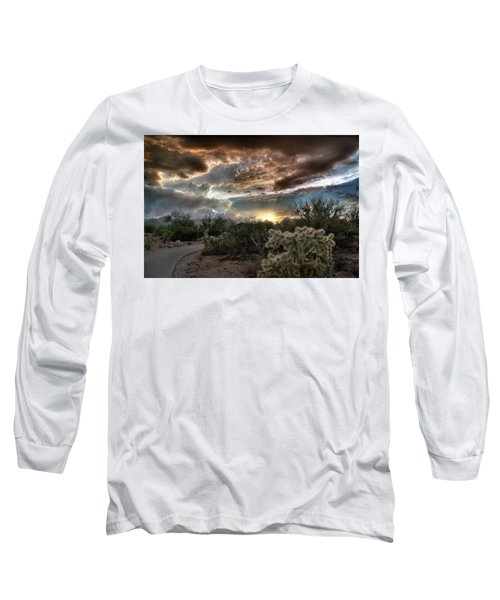 Long Sleeve T-Shirt featuring the photograph Tucson Mountain Sunset by Lynn Geoffroy