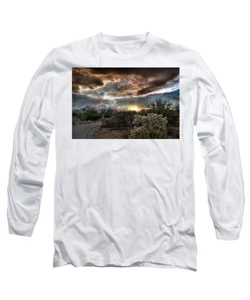 Tucson Mountain Sunset Long Sleeve T-Shirt by Lynn Geoffroy