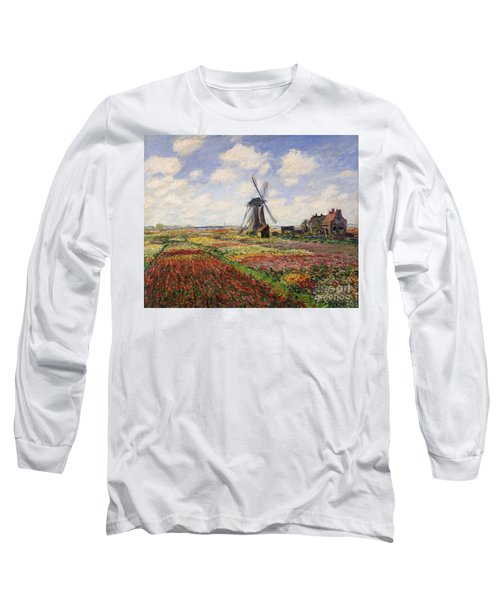 Tulip Fields With The Rijnsburg Windmill Long Sleeve T-Shirt