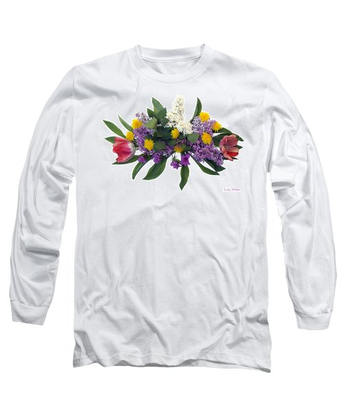 Long Sleeve T-Shirt featuring the digital art Tulip Lilac And Dandelion Bouquet by Lise Winne