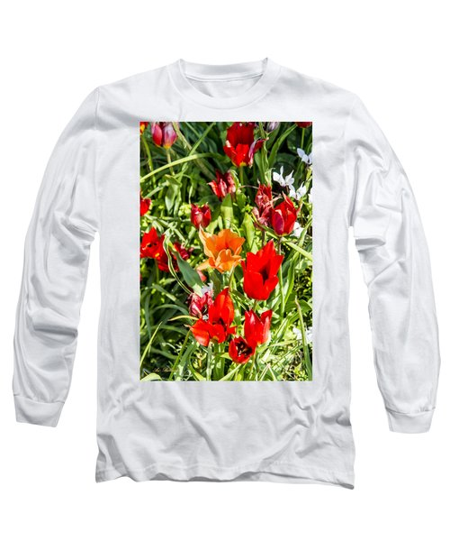Long Sleeve T-Shirt featuring the photograph Tulip - The Orange One 03 by Arik Baltinester