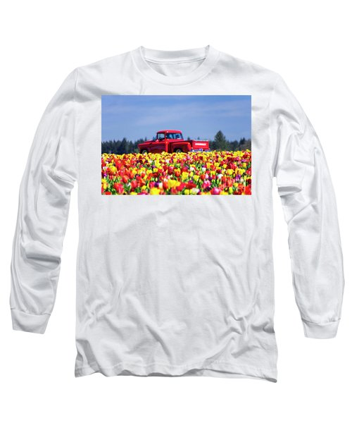 Tulips And Red Chevy Truck Long Sleeve T-Shirt
