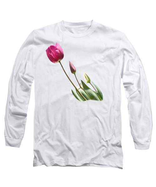 Tulips On Transparent Background Long Sleeve T-Shirt