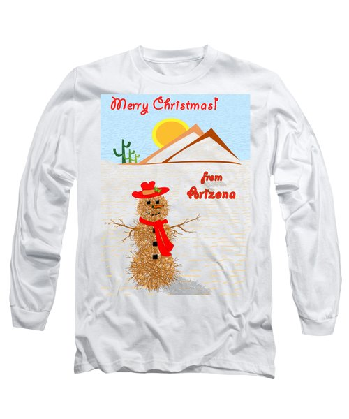 Tumbleweed Snowman Christmas Card Long Sleeve T-Shirt by Methune Hively