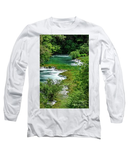 Turqouise Waterfalls Of Skradinski Buk At Krka National Park In Croatia Long Sleeve T-Shirt