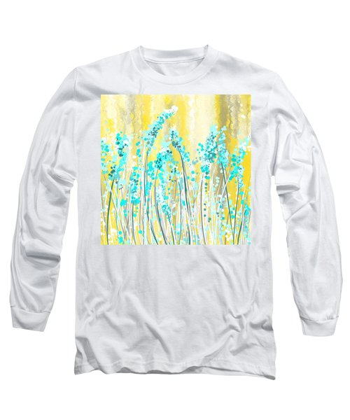 Turquoise And Yellow Long Sleeve T-Shirt