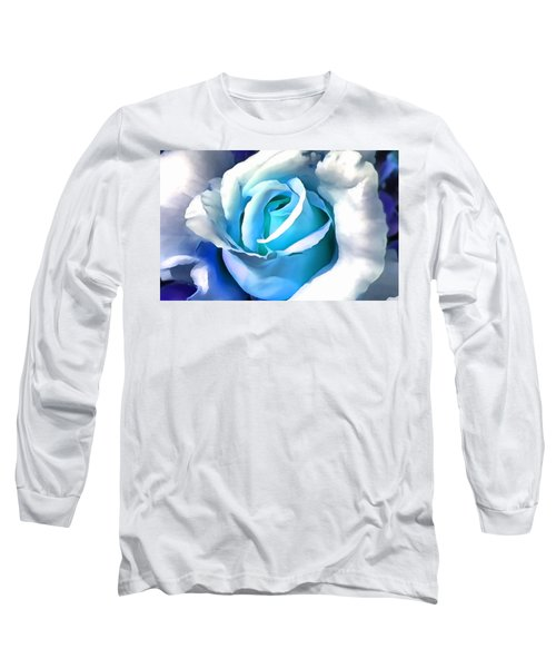 Turquoise Rose Long Sleeve T-Shirt