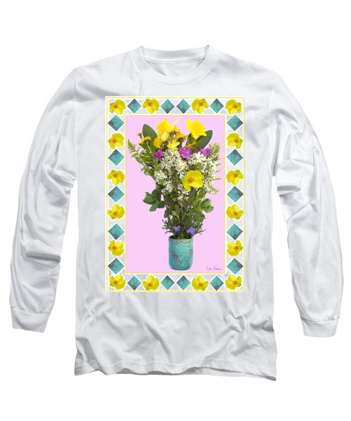 Long Sleeve T-Shirt featuring the digital art Turquoise Vase With Spring Bouquet by Lise Winne