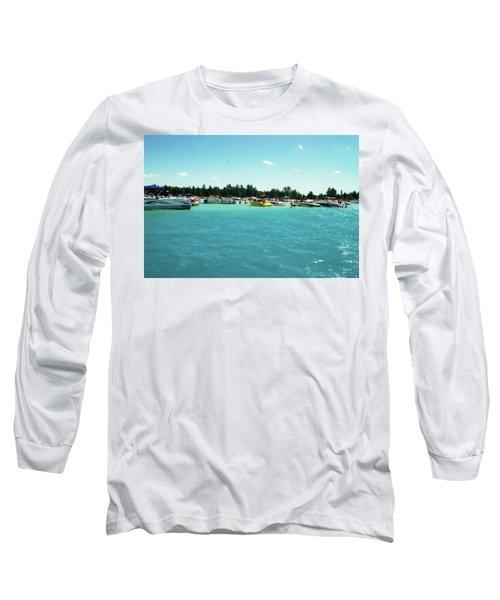 Turquoise Waters At The Torch Lake Sandbar Long Sleeve T-Shirt