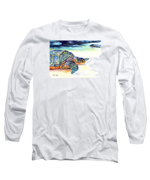 Long Sleeve T-Shirt featuring the painting Turtle At Poipu Beach 2 by Marionette Taboniar